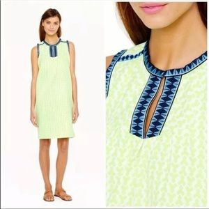J Crew / Neon Yellow Embroidered Tunic Dress